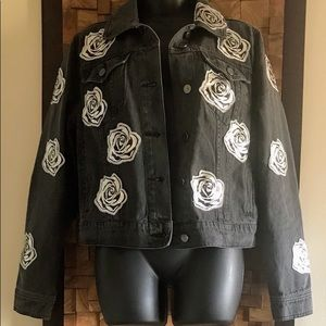 Bagatelle Rose Appliqué Denim Jacket - M